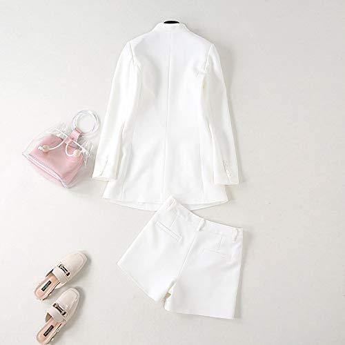 Otoño Pantalones Chaqueta Dama De Cortos Blanco Superiores Traje Fjthy Iqg4HwnxfT