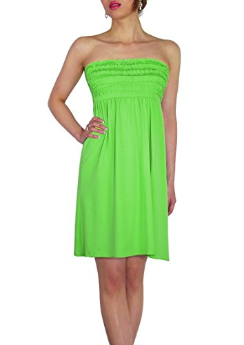 Sodacoda Beach Strapless Summer Holiday Dress knee lenght - all colours - One size (UK 8-12) Verde