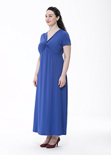 Fiesta Color Vestido Cóctel Manga Azul de Vestido Corta Sólido Playa 6XL MissFox Talla Mujer para L Largo Grande EPwPBz