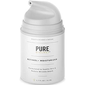 Pure Biology Premium Retinol Cream Face Moisturizer with Hyaluronic Acid, Vitamins B + C & Anti Aging Wrinkle Complexes for Men & Women, 1.7 oz
