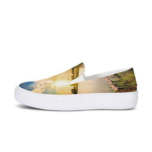 Nature Canvas Slip On Shoes,Wooden Deck on The Lake Surrounded by Foliage Greenery Evening Sky Serene Landscape for Women,US 11
