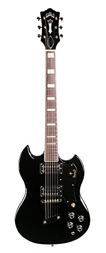 Guild '16 S-100 Polara Solid Body Electric Guitar with Deluxe Gig Bag (Black)