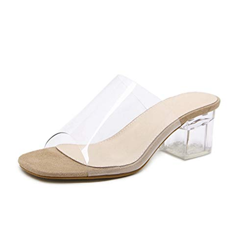 Bonrise Womens Low Block Heel Slide Sandals Lucite Clear Anti-Slip Slip On Chunky Heels Sandal Beige