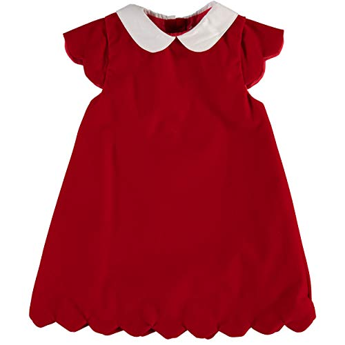 Carriage Boutique Girls Red Velvet Short Sleeve Scallop Dress ()