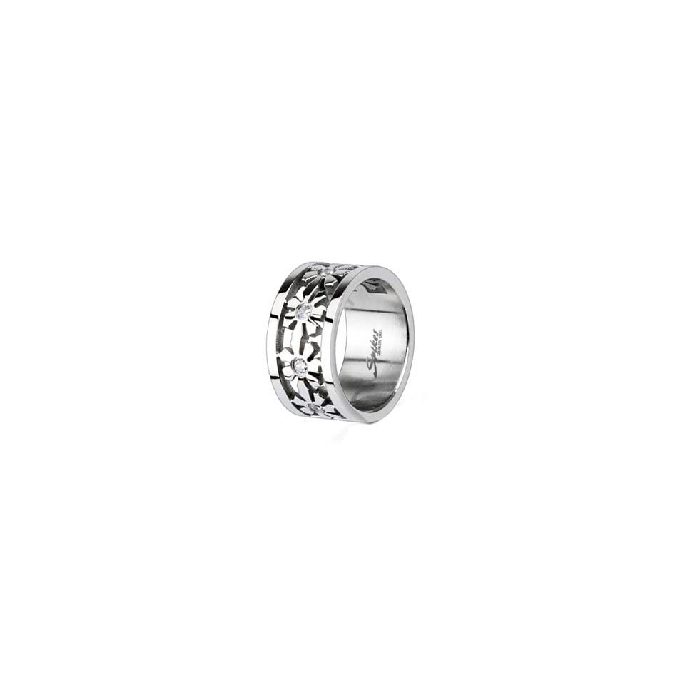 High Polished Stainless Steel Ring For Women with Multi Flowers around the Band and Small Cubic Zirconias in Center