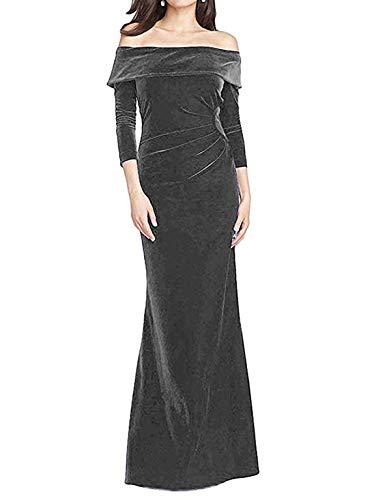 Sweeping Train Satin - TTYbridal Off Shoulder Evening Dresses Long Velvet Bridesmaid Gown Wedding Party Dress V4 Gray 16