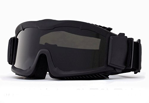 Outdoor Tactical Vented Safety Airsoft Goggles CS Paintball Glasses Interchangeable 3 Lens Kit(Black)
