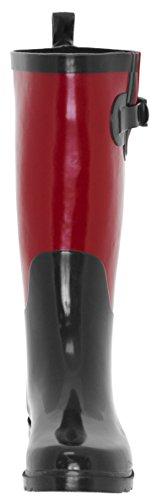 Capelli New York - Bota De Lluvia Roja, Caucho, Dos Tonos, Para Mujer, Alta, Combo