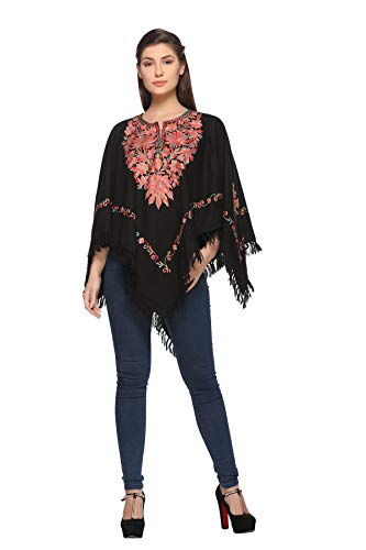 Indian Kashmiri Women's Poncho/Overcoat Hand Embroidery Paisley Work with Inner Lining (Free Size) Black