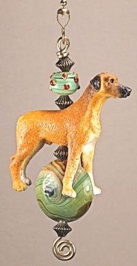A Favorite Golden Puppy Dog with Lampwork Green Glass Ceiling Fan Pull Chain (Glass Ornament Retriever)