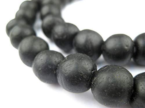 African Recycled Glass Beads - Full Strand Eco-Friendly Fair Trade Sea Glass Beads from Ghana Handmade Ethnic Round Spherical Tribal Boho Krobo Spacer Beads - The Bead Chest (14mm, Black)