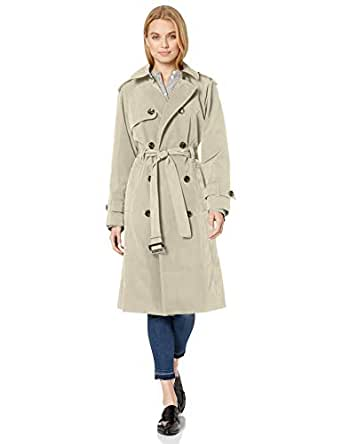 LONDON FOG Women's Long Midi Trench Coat, Stone, X-Small