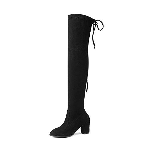 Tacones Zapatos sintética Muslo Botas altos Estiramiento altas de señora rodilla mujer Botas cordones con gamuza para la para sobre H6qSv
