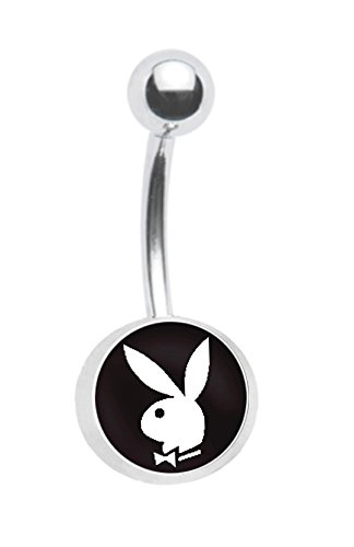- Officially Licensed Black Playboy Bunny Belly navel Ring piercing bar body jewelry 14g