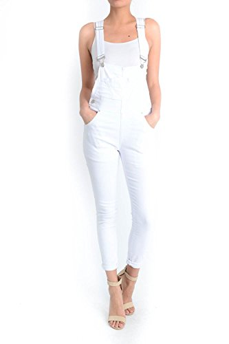 TwiinSisters Women's Solid Color Slim Fitted Skinny Overalls with Comfort Stretch (White, Medium)