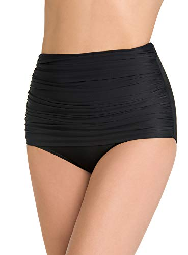 (Miraclesuit Women's Swimwear Solid Norma Jean Retro Style Tummy Control Bathing Suit Bottom, Black, 16)