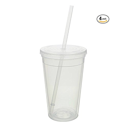 16 oz Tumbler Insulated Double Wall with Lid and Straw, Polypropylene Plastic, Pack of 4 (Clear, 4)