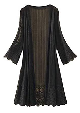 FSSE Women's Lightweight Long Sleeve Lace See-Through Mid Length Cardigan Coat Black 2XL