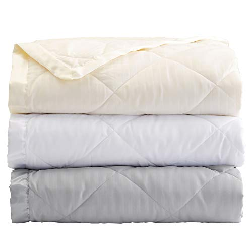 Home Fashion Designs Romana Collection Luxury Goose White Down Alternative Blanket with Satin Trim (Full/Queen, White)