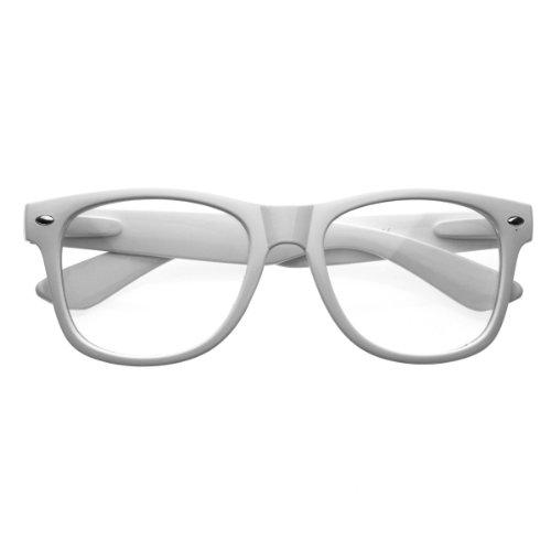 Standard Retro Clear Lens Nerd Geek Assorted Color Horn Rimmed Glasses (White) ()