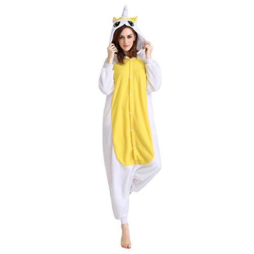 Newcosplay Adult Anime Unisex Unicorn Pyjamas Halloween Onesie Costume (L, Golden Unicorn) ()