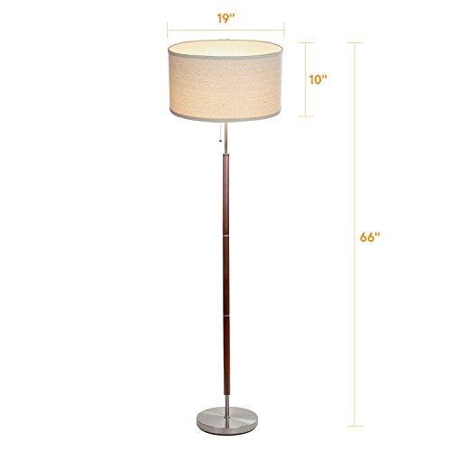 Brightech Carter LED Floor Lamp Classy Vintage Drum Shade Lamp- Tall Pole Standing, Industrial Uplight Lamp for Living Room, Family Room, Den Office, or Bedroom- Energy Efficient Walnut Finish