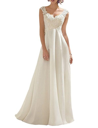 White Bridal Wedding Gown - Women's Summer Style Sleeveless Lace Wedding Dress Long White Tube Dress (size14)