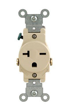 (Leviton 106-5821-ISP S01-05821-0Is Single Receptacle, 125 Vac, 20 A, 2 Pole, 3 Wire, Brown )