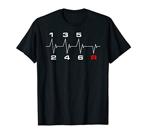 6 Speeds Gear Shift Manual Transmission Heartbeat T-Shirt