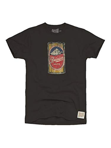 (Rainier Brewing Company Beer Can Retro Brand Black Cotton T-Shirt (L))