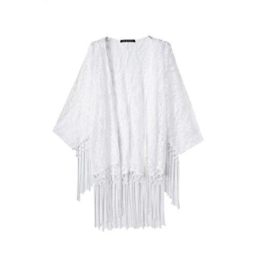 Culater Las mujeres consideran a través del kimono de la rebeca del cordón blusa de la camisa de las borlas Top Blanco