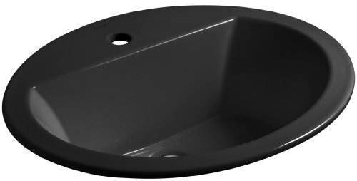 KOHLER K-2699-1-7 Bryant Oval Self-Rimming Bathroom Sink with Single-Hole Faucet Drilling, Black Black (Rimming 7 Self Black Lavatory)
