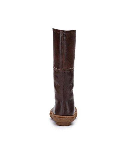 Bottes En Cuir Véritable Femmes Bottes Antidérapantes Semelles Chevalier En Tube Chauffé Douces Chaussures Moelleuses, Marron, 40