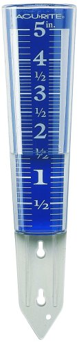 AcuRite 00850A2 5-Inch Capacity Easy-Read Magnifying Rain Gauge (Measure Rainfall Gauges Rain)