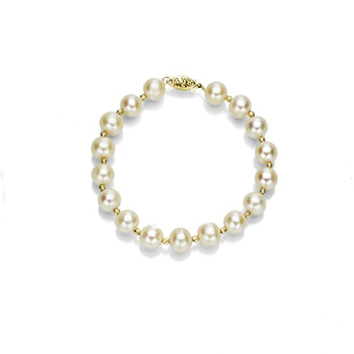 14k Yellow Gold 7-7.5mm White Freshwater Cultured Pearl Bracelet with 3mm Sparkling Gold Beads, 7.25