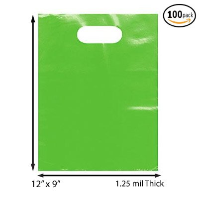 """100 Pack 9"""" x 12"""" with 1.25 mil Thick Green Merchandise Plastic Glossy Retail Bags   Die Cut Handles   Perfect for Shopping, Party Favors, Birthdays, Children Parties   Color Green   100% Recyclable"""