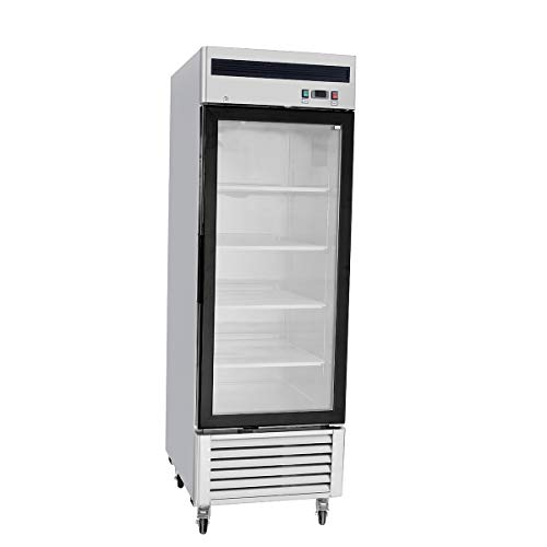 """Stainless Steel Single 1 Door Commercial Glass Freezer Merchandiser Display Case MCF-8701-21 Cubic Feet"""