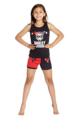 DC Comics Harley Quinn Tank Top Pajama Short Set, Red, 10