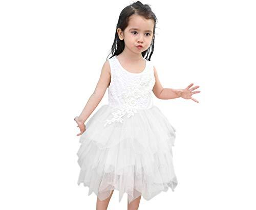 Titanos Kids Lace Back Flower Girl Dress (White, 5-6Years)