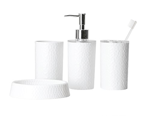 Bath Bliss Hammered Texure 4 Piece Bathroom Accessory Set, Assorted Colors (White) - Sets Includes: Toothbrush Holder, Tumbler, Soap Dispenser, and Soap Dish Distinct Handcrafted Texture; Streamlined Design Made of Durable AS & ABS plastic - bathroom-accessory-sets, bathroom-accessories, bathroom - 31Y3Xmu3ySL -