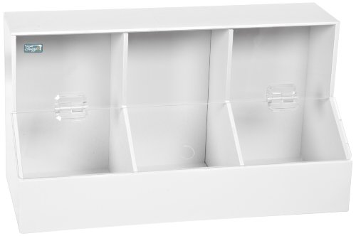 TrippNT 50005 White PVC/Acrylic Plastic Large Dispensing Bin with 3 Compartments, 18.25