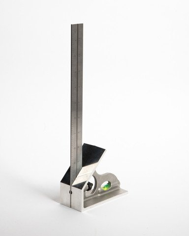 """LaSquare  12"""" SAE Machinist Combination Square, Saddle Square, Stainless Steel Blade with 1/64'', 1/32'', 1/16'' and 1/8'' Markings, Hardened Aluminum Head LAS 12SS-12''"""