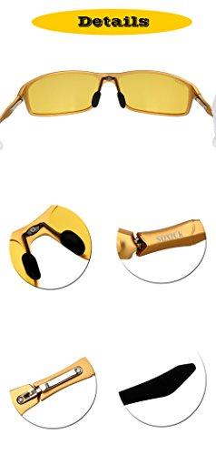 bbbb058a02 Soxick Yellow Night Vison Driving Glasses for Men Women Aviator Sport Anti-Glare  Golden Frame