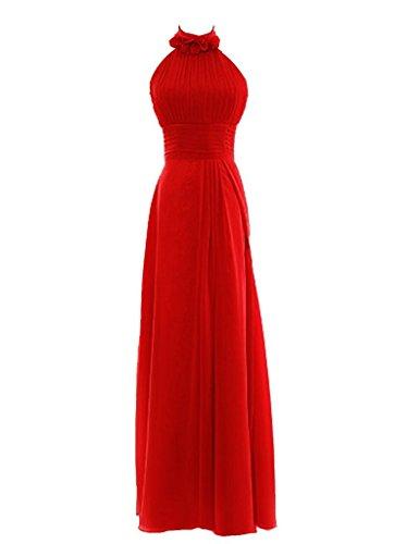 Snowskite Womens Halter Long Chiffon Bridesmaid Evening Dress size 22 Red (Cinderalla Dress)