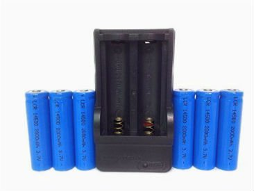 LCR 14500 battery,6Pcs 2000mah 14500 3.7V AA Rechargeable Li-ion Battery with Charger