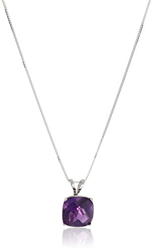 Necklace Cut Amethyst - 14k White Gold Cushion Checkerboard Cut Amethyst Pendant Necklace (8mm)