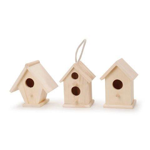 Bulk Buy: Darice DIY Crafts Wood Birdhouse Natural 4.5 inches Assortment (12-Pack) 9184-70