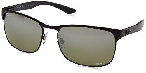 (Ray-Ban Men's RB8319CH Chromance Mirrored Rectangular Sunglasses, Black On Matte Black/Polarized Silver Mirror Gradient, 60 mm)