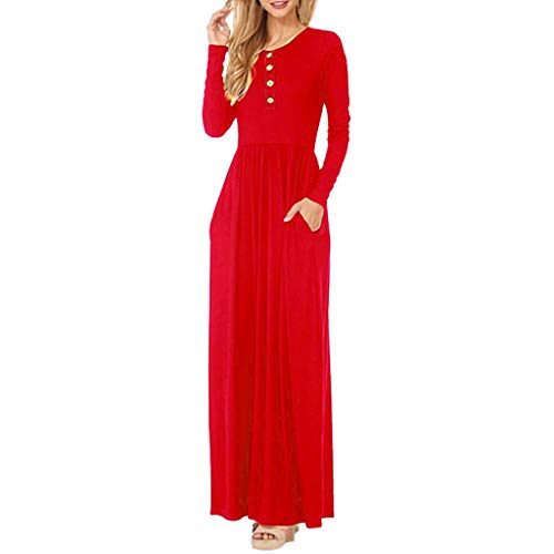 GREFER Women Button Long Sleeve Loose Plain Maxi Dresses Casual Long Dresses with Pockets ()