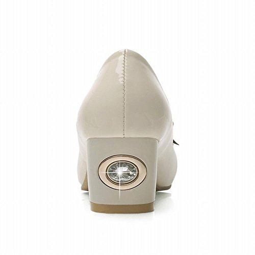 Latasa Womens Fashion Bow Rhinestones Two-toned Chunky Mid-heel Pumps Beige tjsuiF0P1J